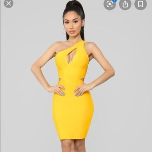 Holla At Me Bandage Dress -Yellow